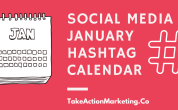 Social Media January Hashtag Calendar