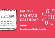 March Hashtag Calendar Take Action Marketing